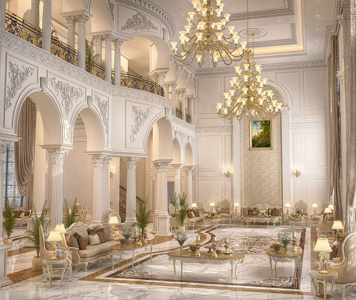 Main hall design for a private villa at doha qatar on behance for Sitting hall design
