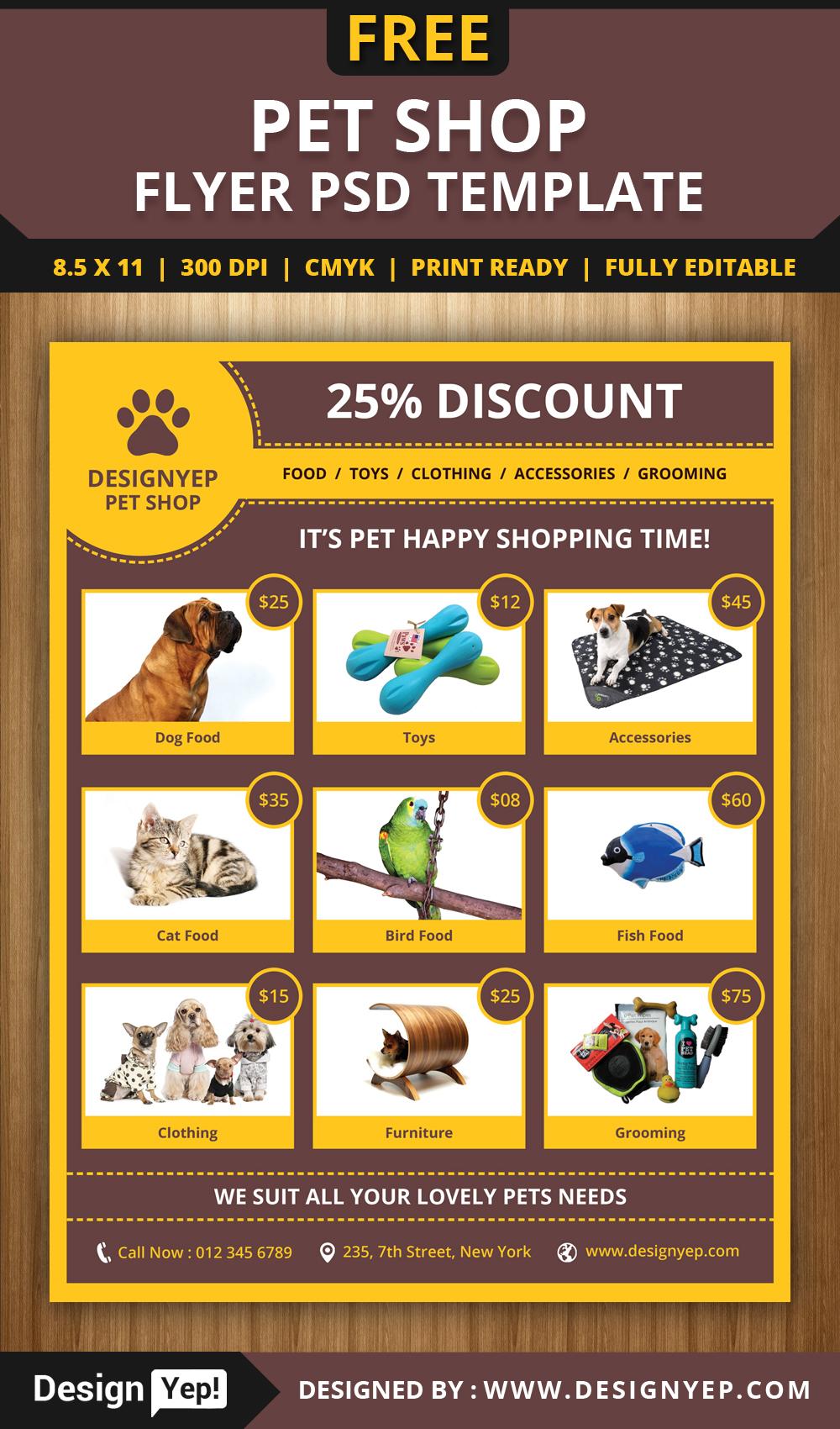 free pet shop flyer psd template on behance