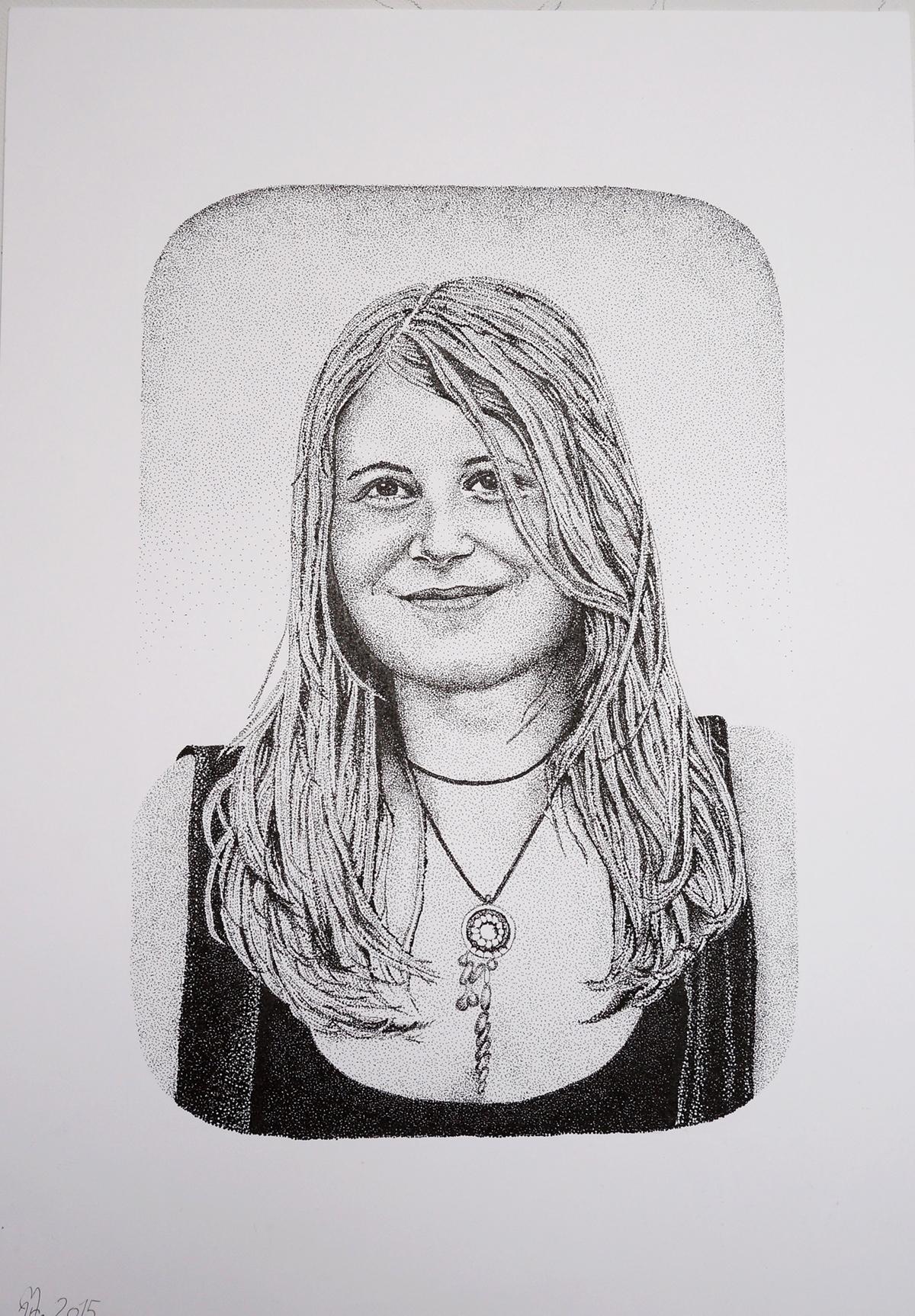 dotwork pointillismus portrait Black&white