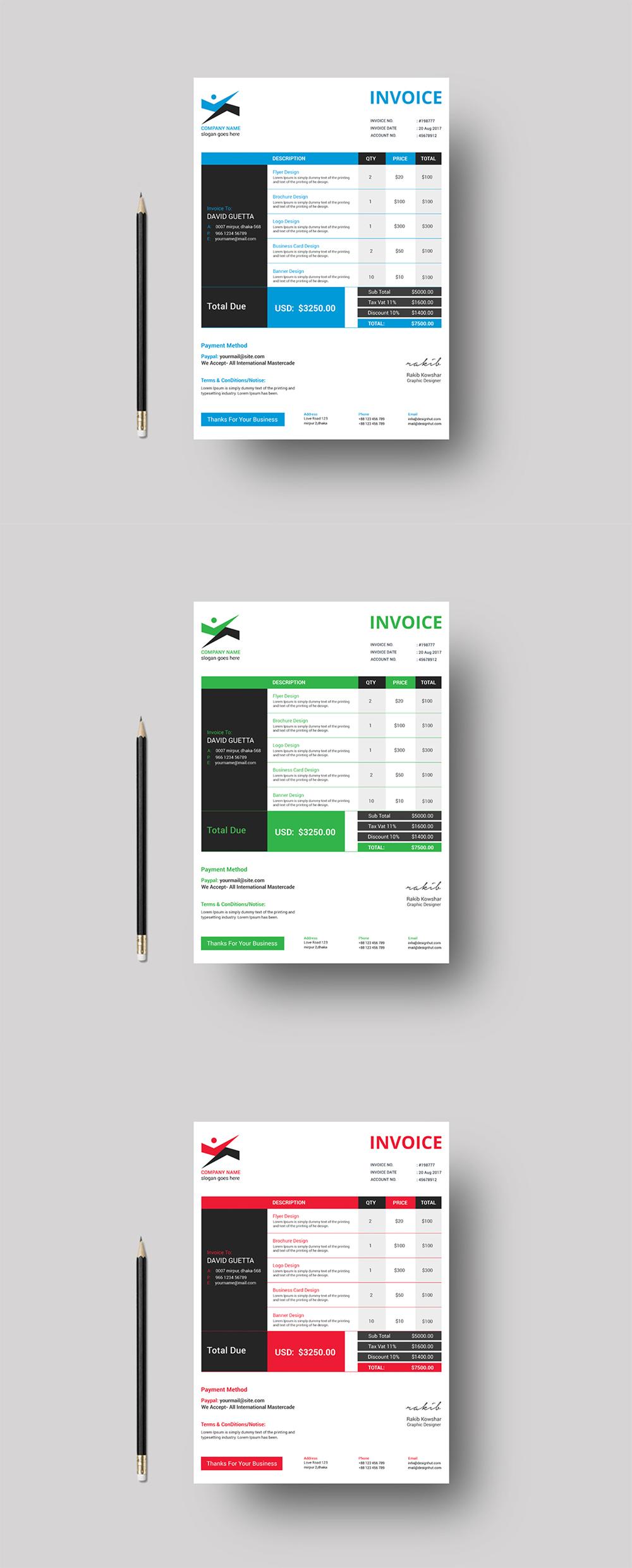 corporate invoice on behance