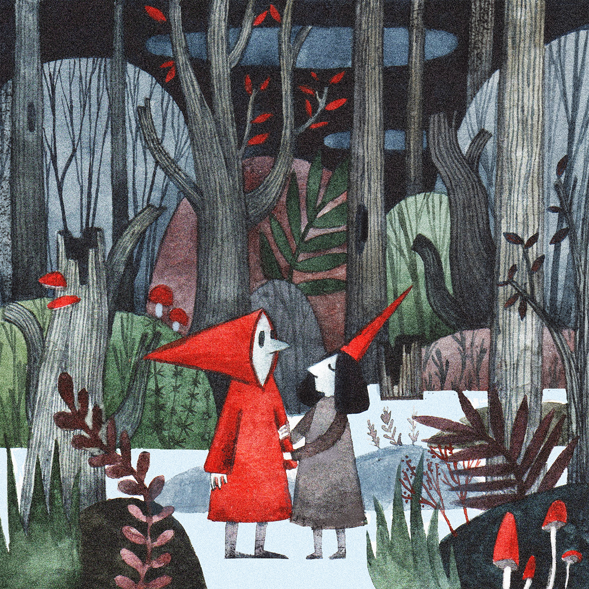 fairytale characters Character watercolor snowwhite gnomes ILLUSTRATION  book wood forest