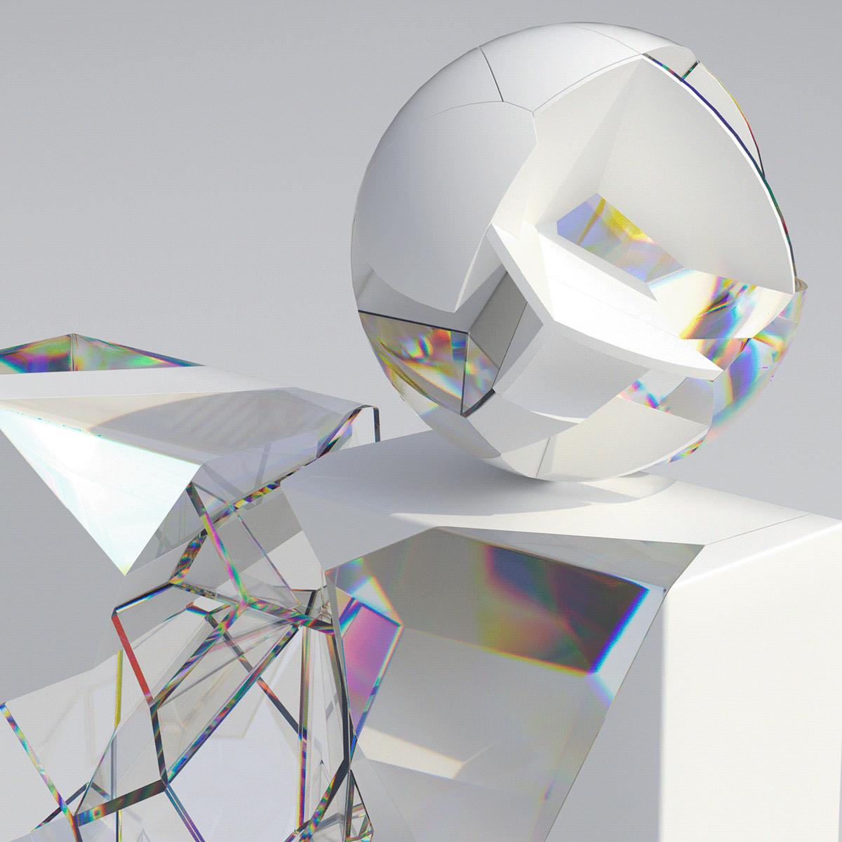 c4d colors shapes minimal White blue gradient glass octane cinema4d