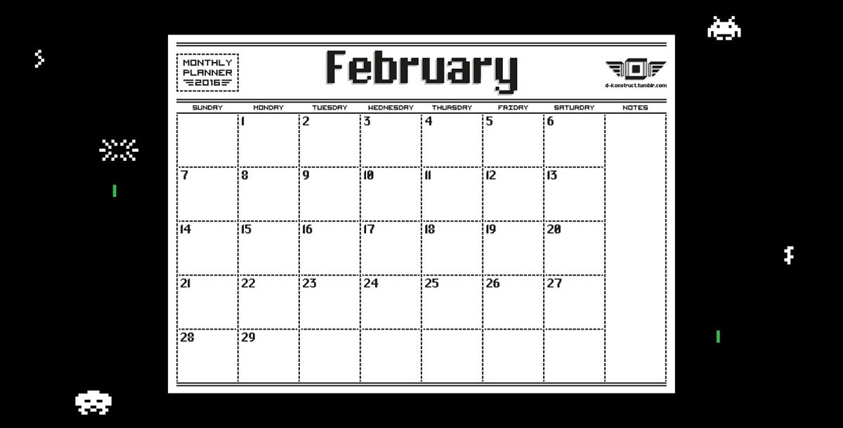8 bit 2016 monthly planner on pantone canvas gallery