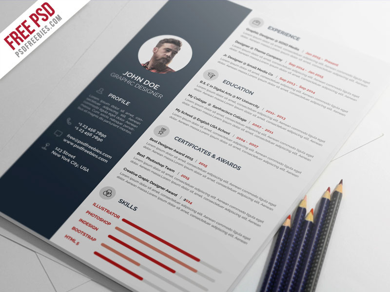 free psd   professional resume cv template psd on behance