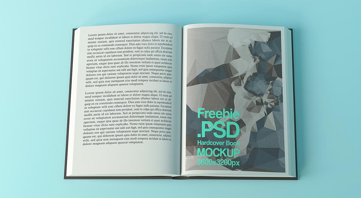 open book design freebie .psd hardcover book mockup