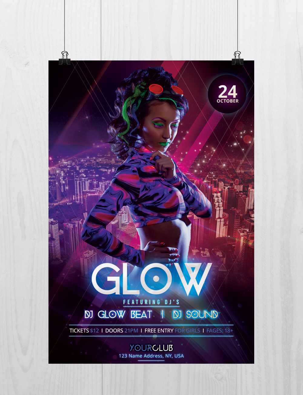 glow and neon free psd flyer template on behance - Free Psd Flyer Templates