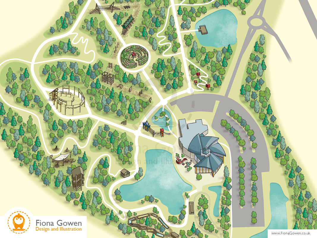 Cropped section of an Illustrated map of CONKERS Discovery Centre by map illustrator Fiona Gowen, with key areas of the attraction illustrated