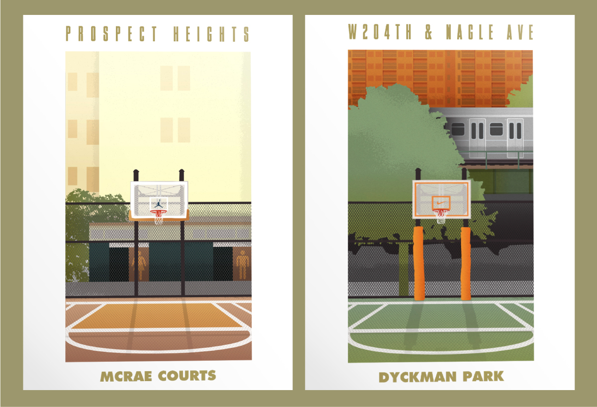 I worked with Studio Mega to create a series of limited edition posters to  celebrate NYC's love of basketball and basketball heritage.