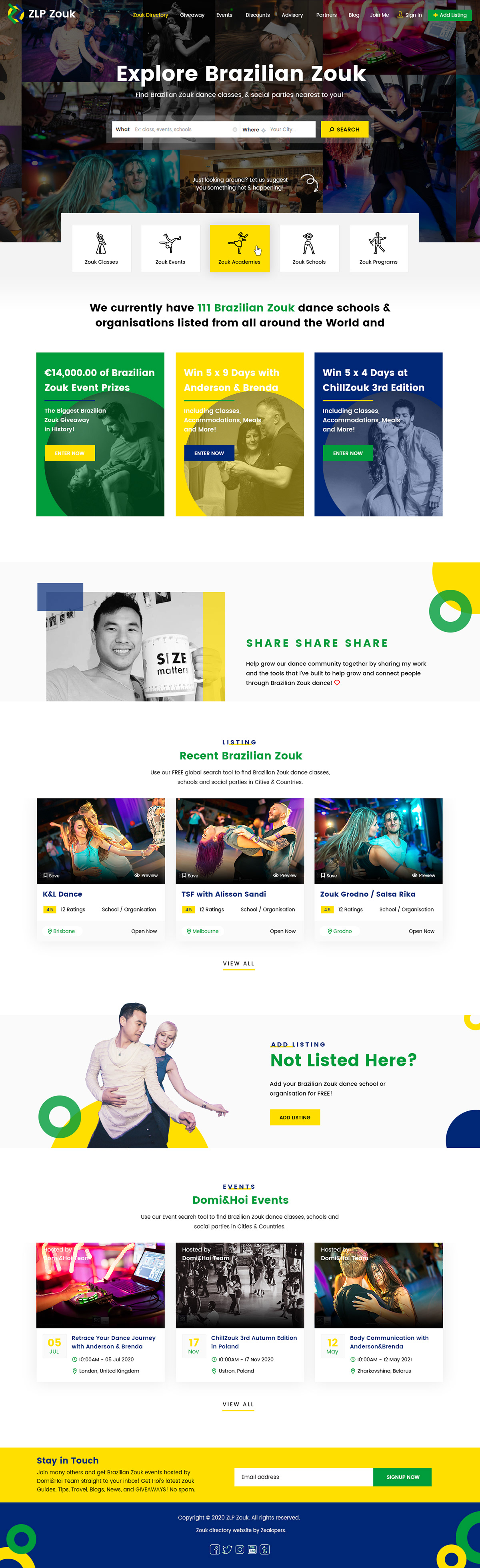 DANCE  ,directory,Directory Homepage,directory template,landing page,photoshop design,psd template,Web Design ,website template,Zouk