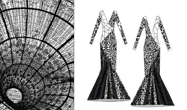 mosaic patchwork Black&white risd piping shattered glass print