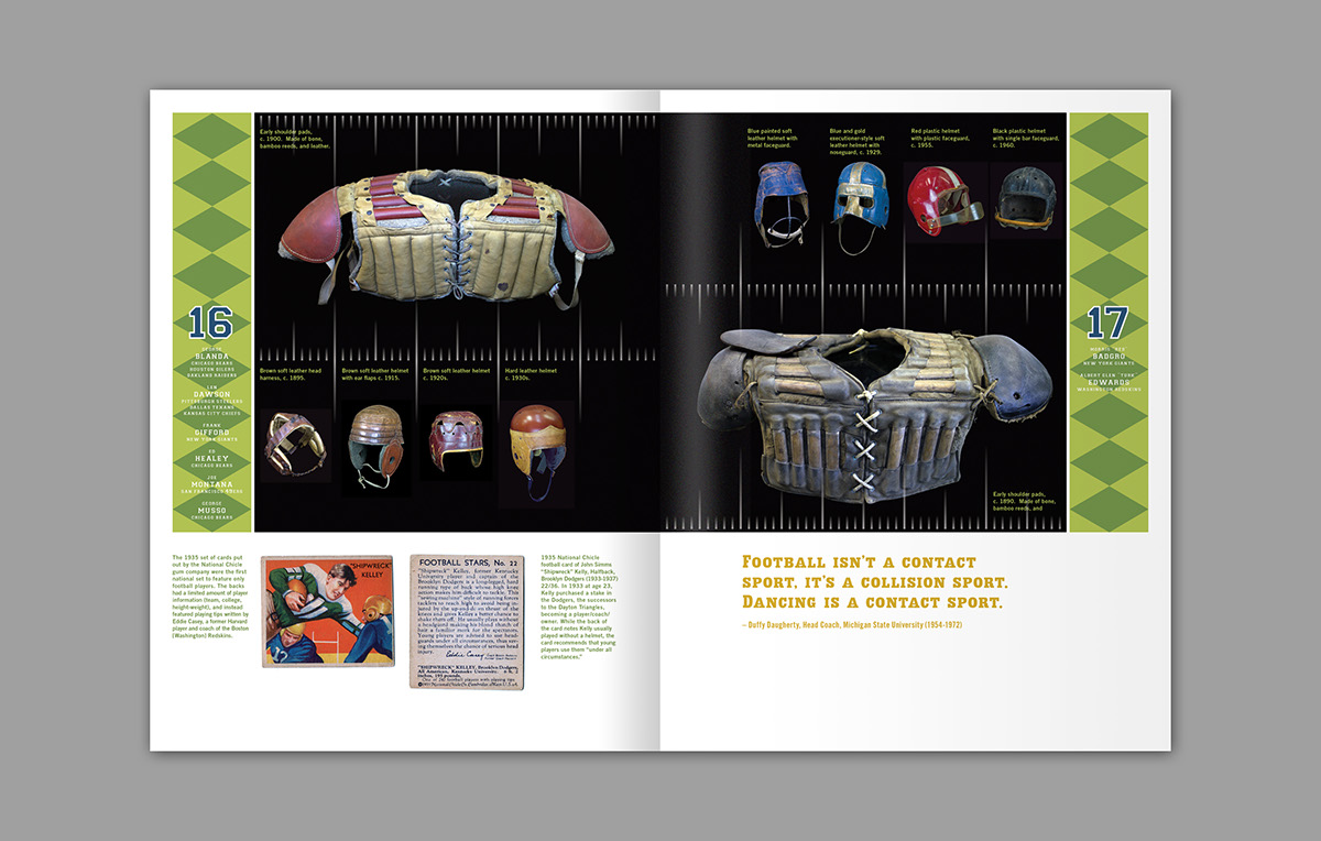 football catalog history book design