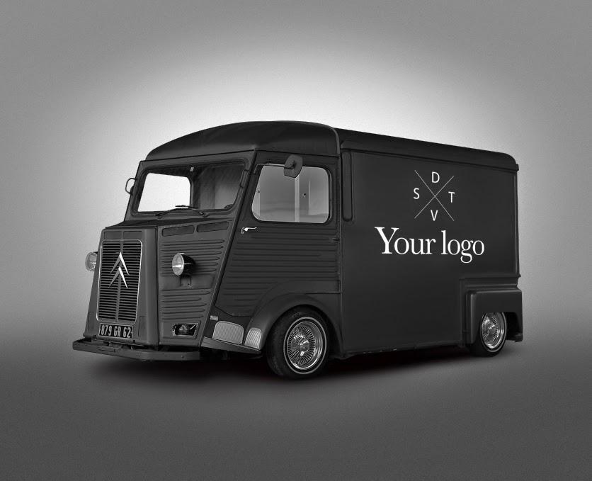 Free psd van food truck mockup on behance for Food truck design app