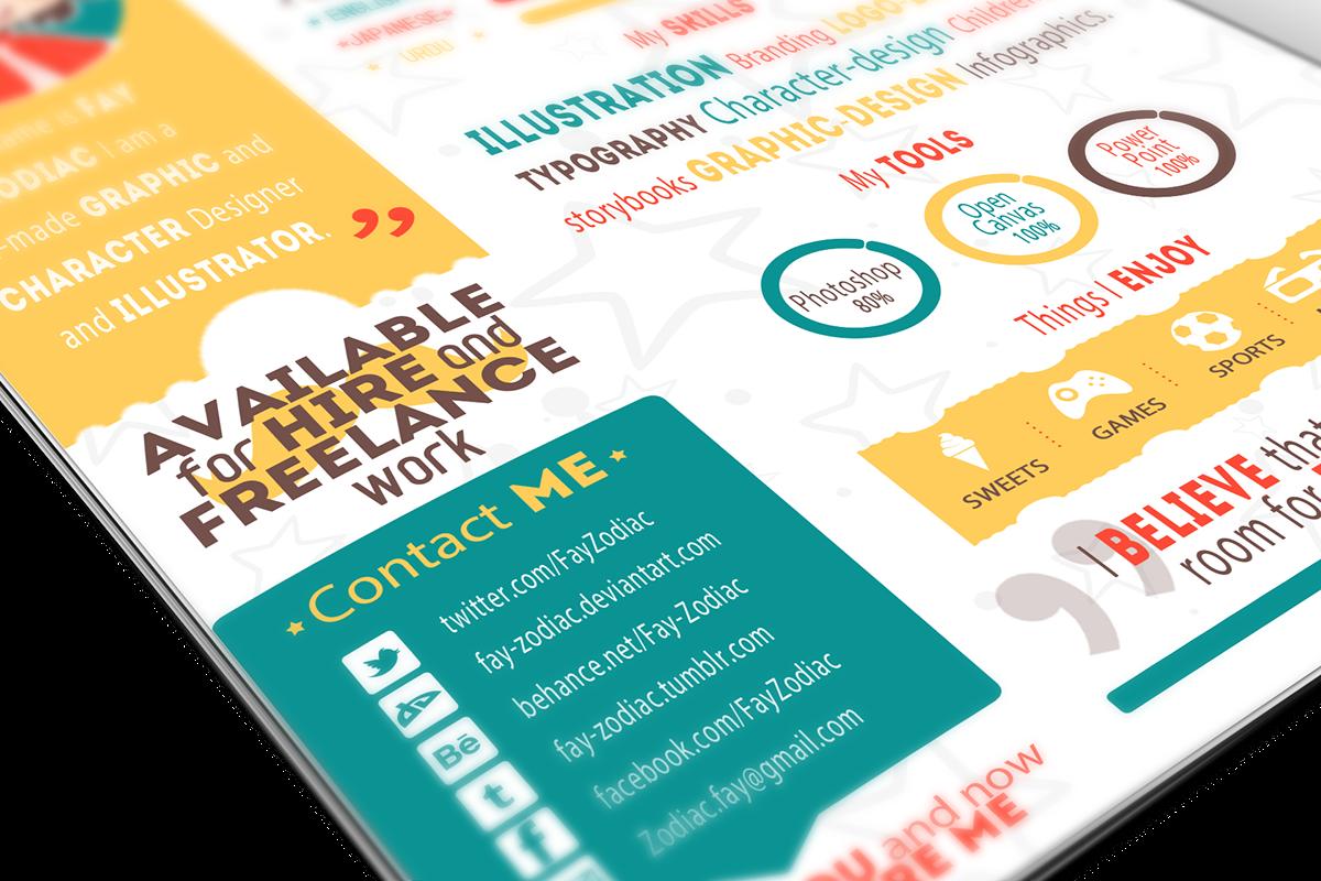 Resume CV Self Promotion Fay zodiac skills free template print psd resume template simple