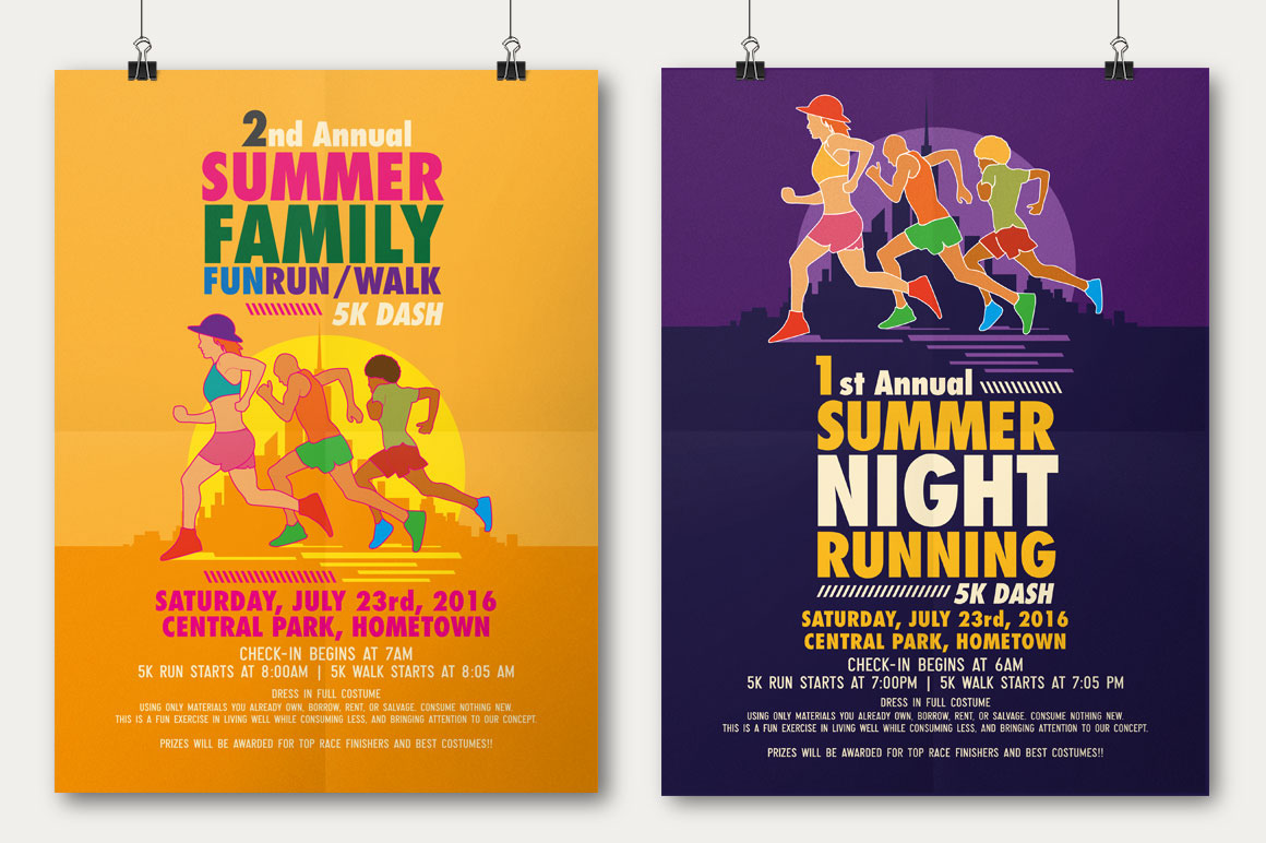 Good Summer Fun Run Flyer U0026 Poster Template On Behance  Fun Poster Templates