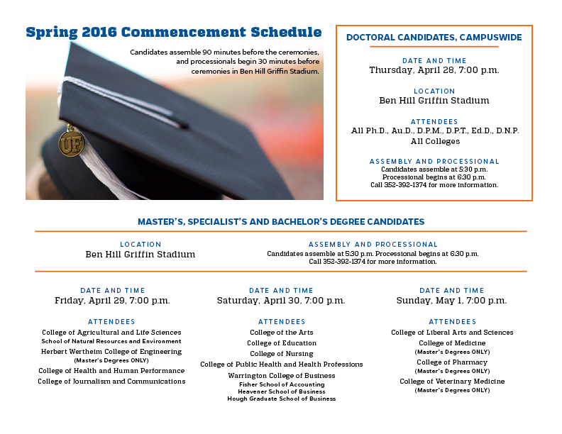 UF - Spring 2016 Commencement Schedule on Behance