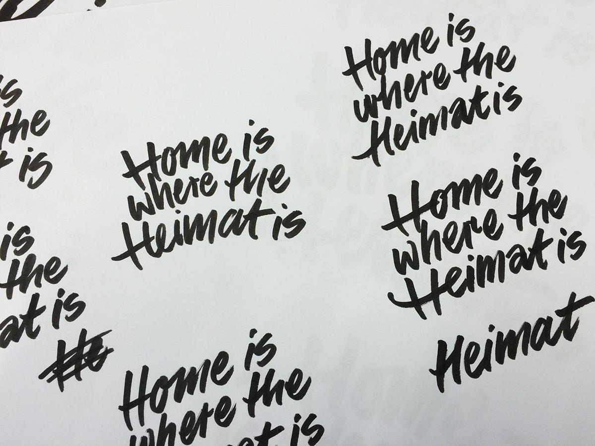 Handlettering leather embossment handwriting embossed home heimat
