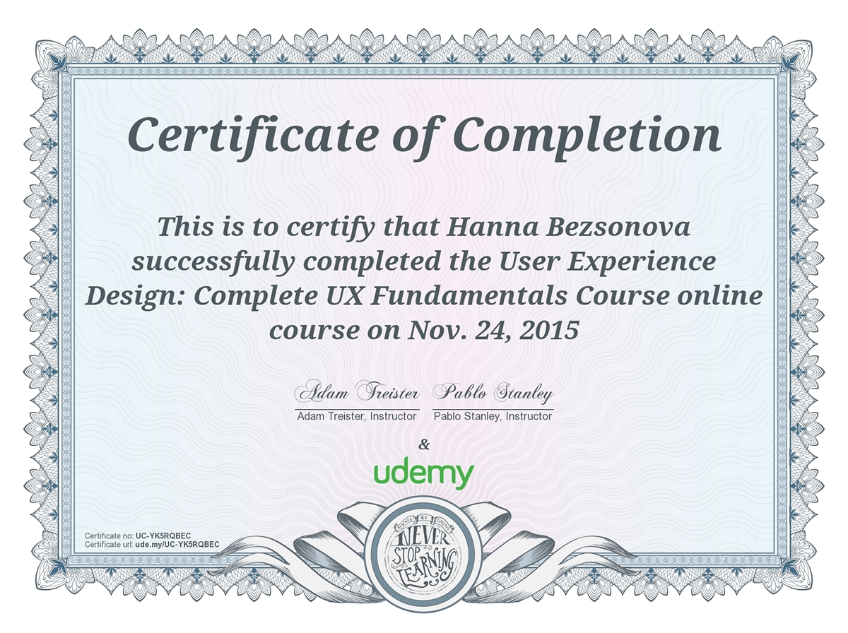 My Ux Certificates Udemy On Behance
