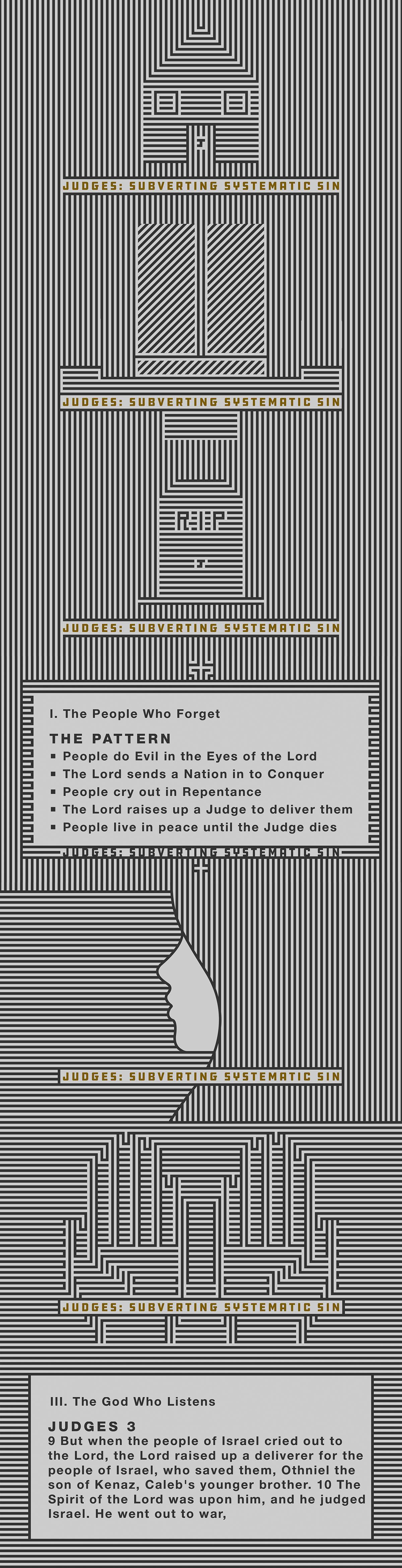 judges,Sermon Series,church graphics,line art,optical illusion,pattern,church art,tulsa,ethos tulsa,gray