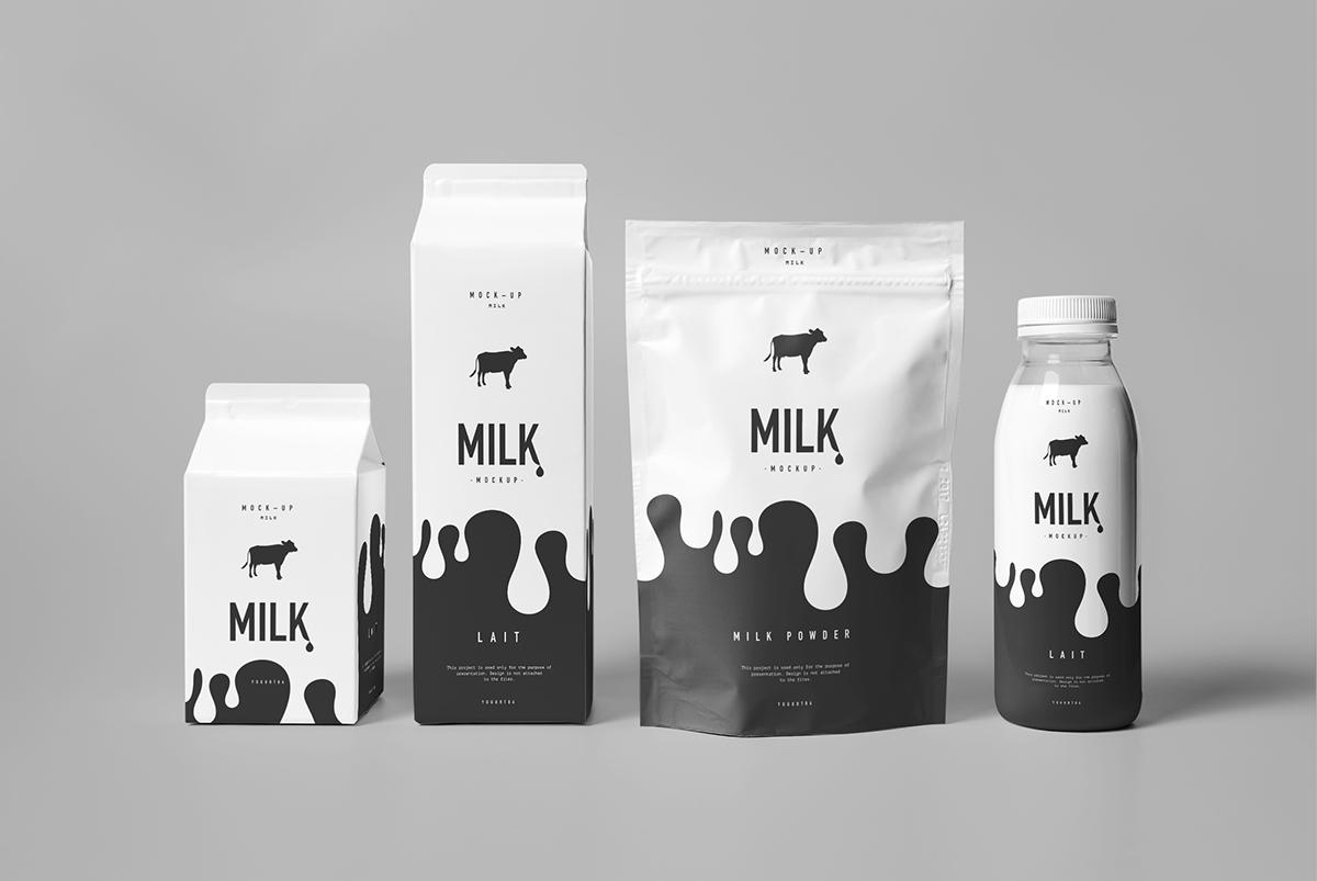 bottle box cardboard carton milk milky mock mock-up Mockup modern package paper photo-realistic photorealistic plastic