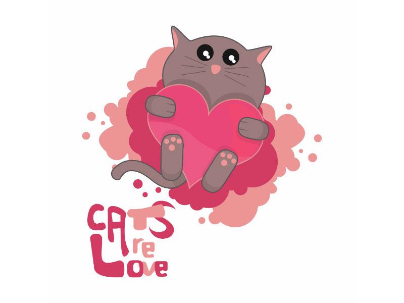 Cat animal animals Pet pets cute kawaii heart Love