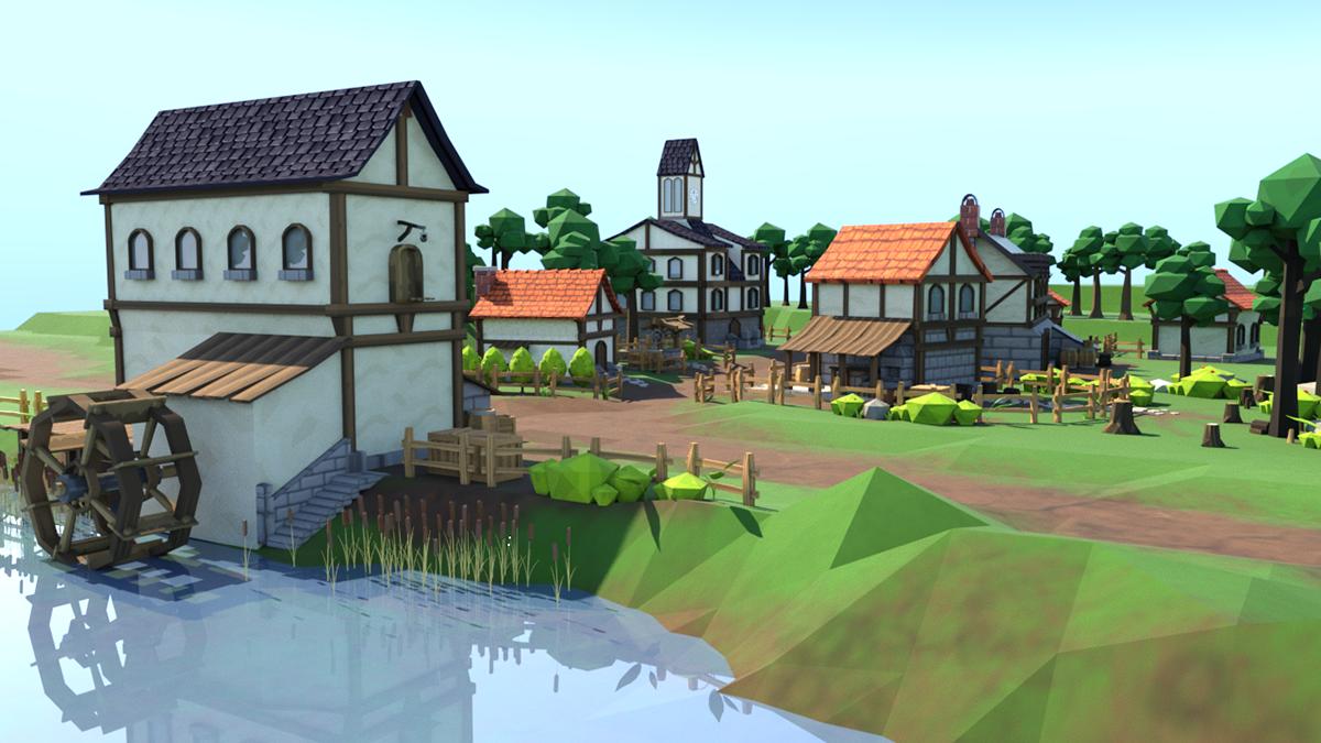 3D village forêt bois maison Moulin puits rivière river house