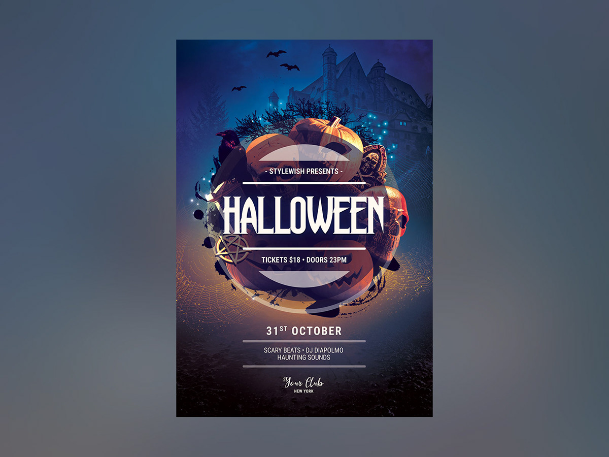 This PSD Flyer Template Is Designed To Promote A Halloween Event