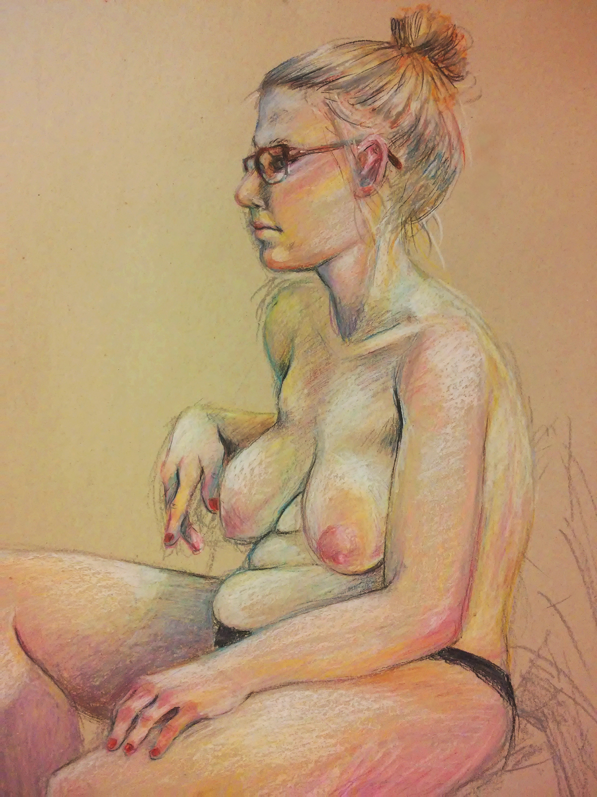nude Figure Drawing oil pastels woman study Dry pastels