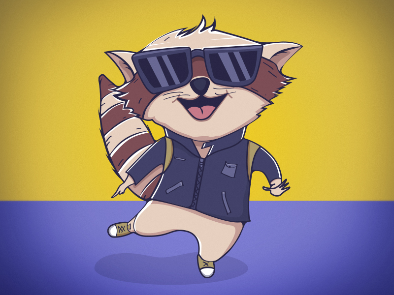 Character raccoon Vector Illustration colorful animals creative style