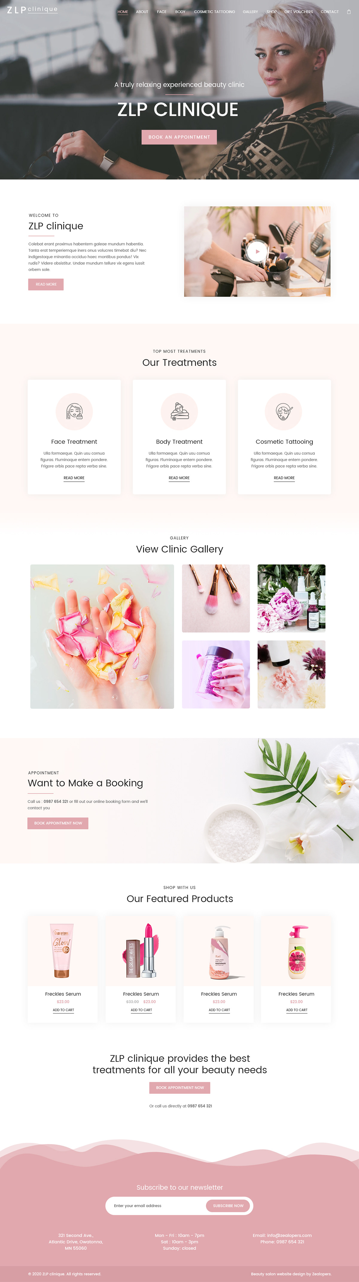 beauty,clinic,homepage,Beauty Clinic Website,Ecommerce,landing page,PSD Design,shop,store,Website Design