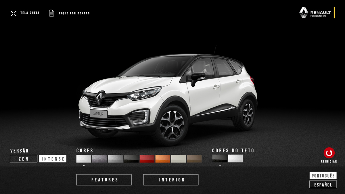 renault captur car configurator on behance. Black Bedroom Furniture Sets. Home Design Ideas