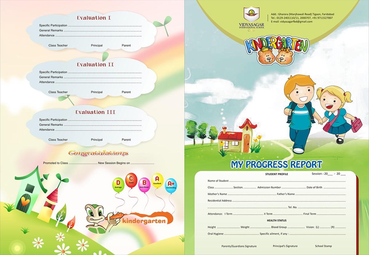 cover page designs on behance vidyasagar kindergarten progress report cover