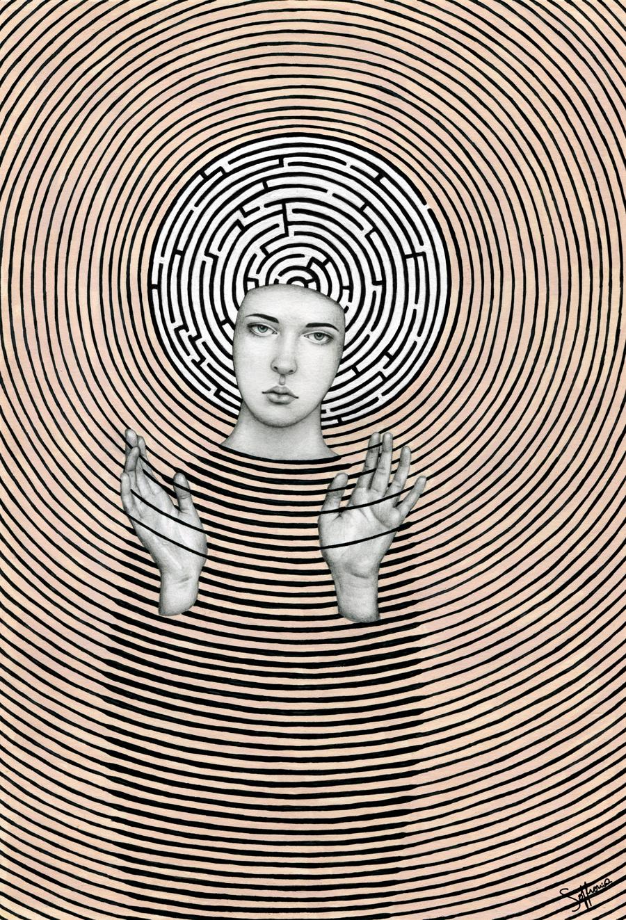 maze,labyrinth,lines,black,White,portrait