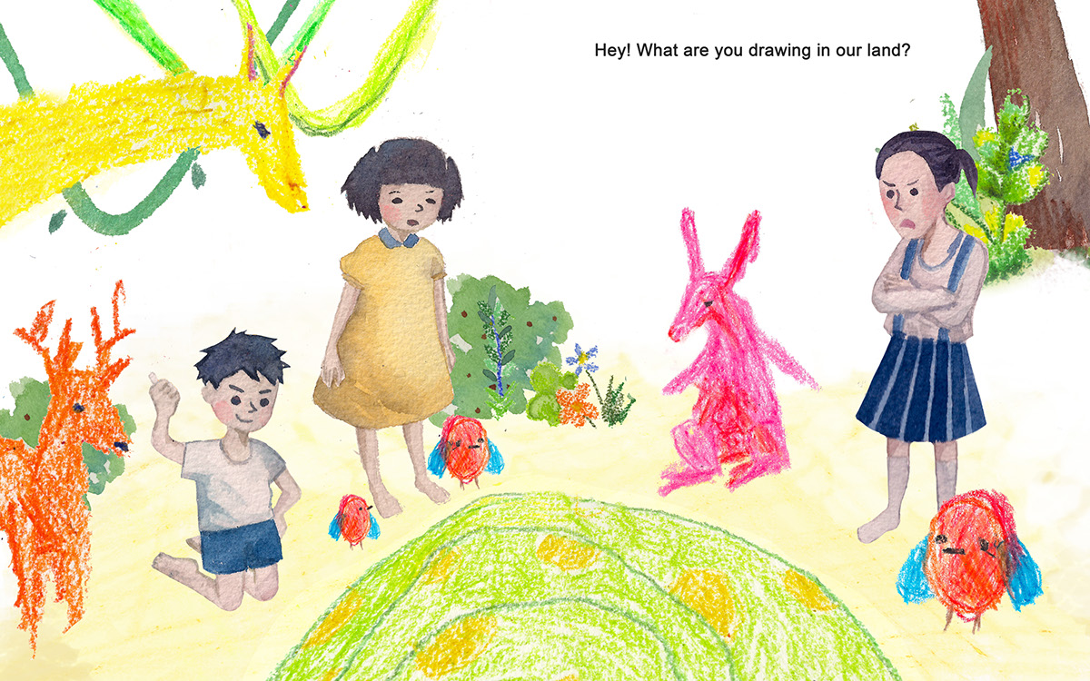 crayon watercolor children's book childhood Sibilings   sister brother