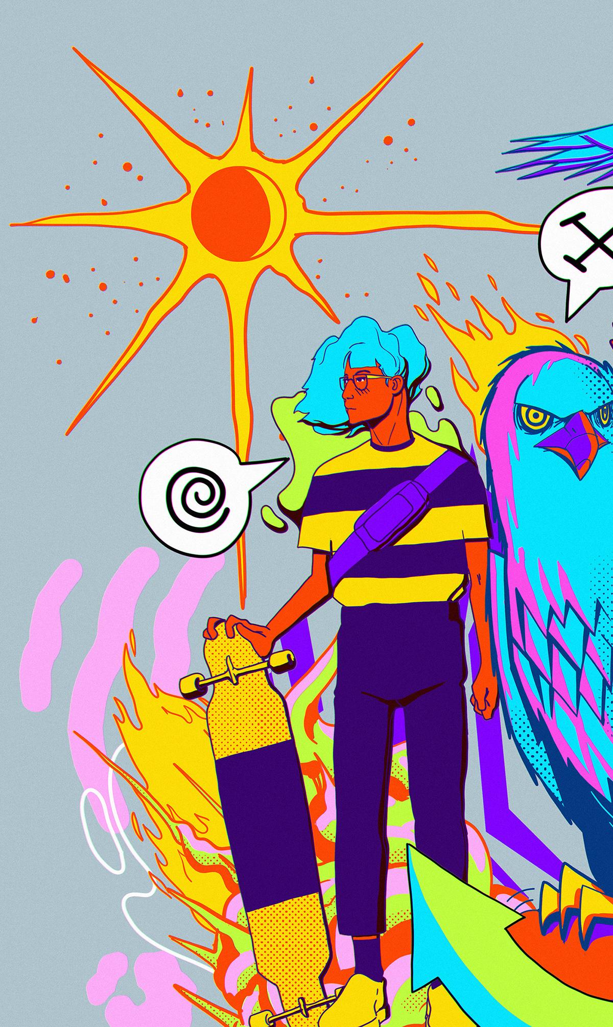 animals anime color colorful digitalart ILLUSTRATION  iPad manga skatepark sports
