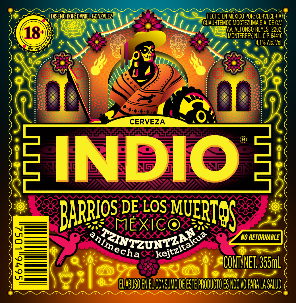 Barrios De Los Muertos 2018 De Cerveza Indio On Pantone