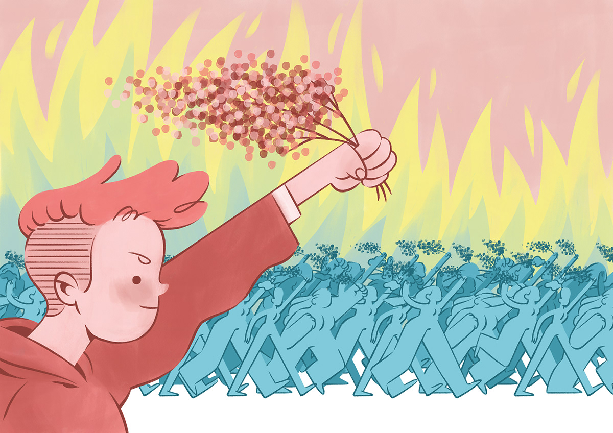 woman power girl revolution woman's day ILLUSTRATION  pink Girl Power march fire