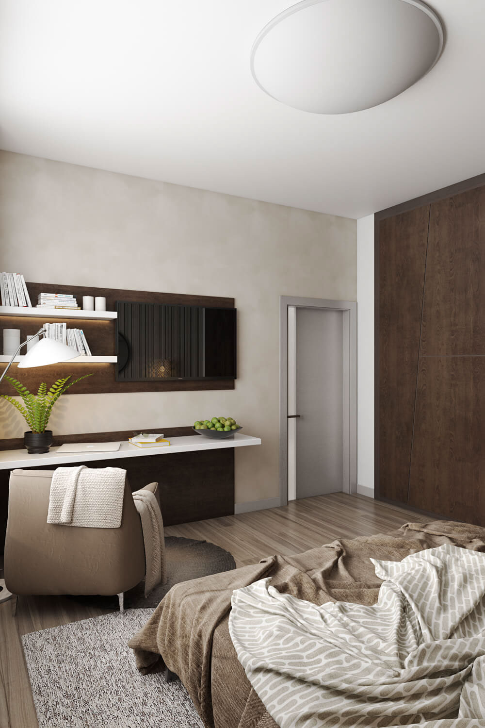 Aesthetic Bedroom Design Realistic 3D Visualization. on ...