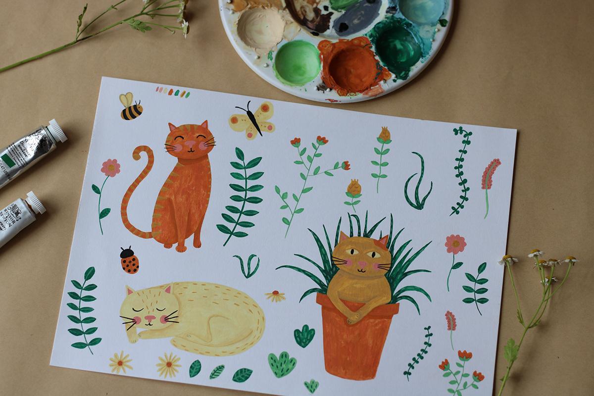pattern design  Repeat Pattern Cat plants Nature surface design textile design  gouache ILLUSTRATION  painting