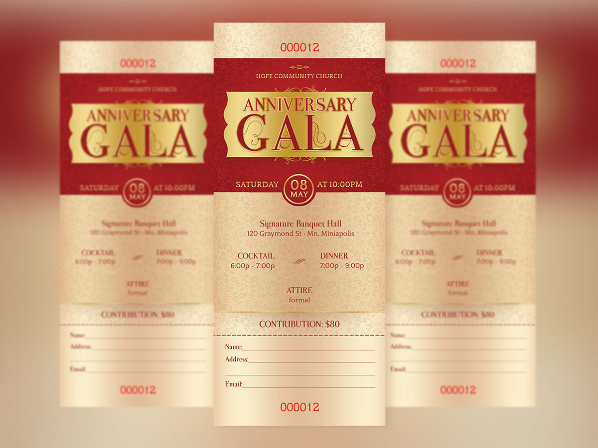 Anniversary Gala Ticket Template On Behance  Ball Ticket Template