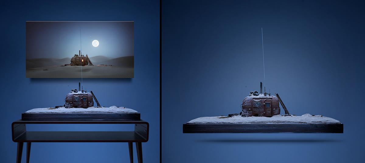 airstream,cinema graph ,desert,fantasy,moon,moon light,nft,rusty