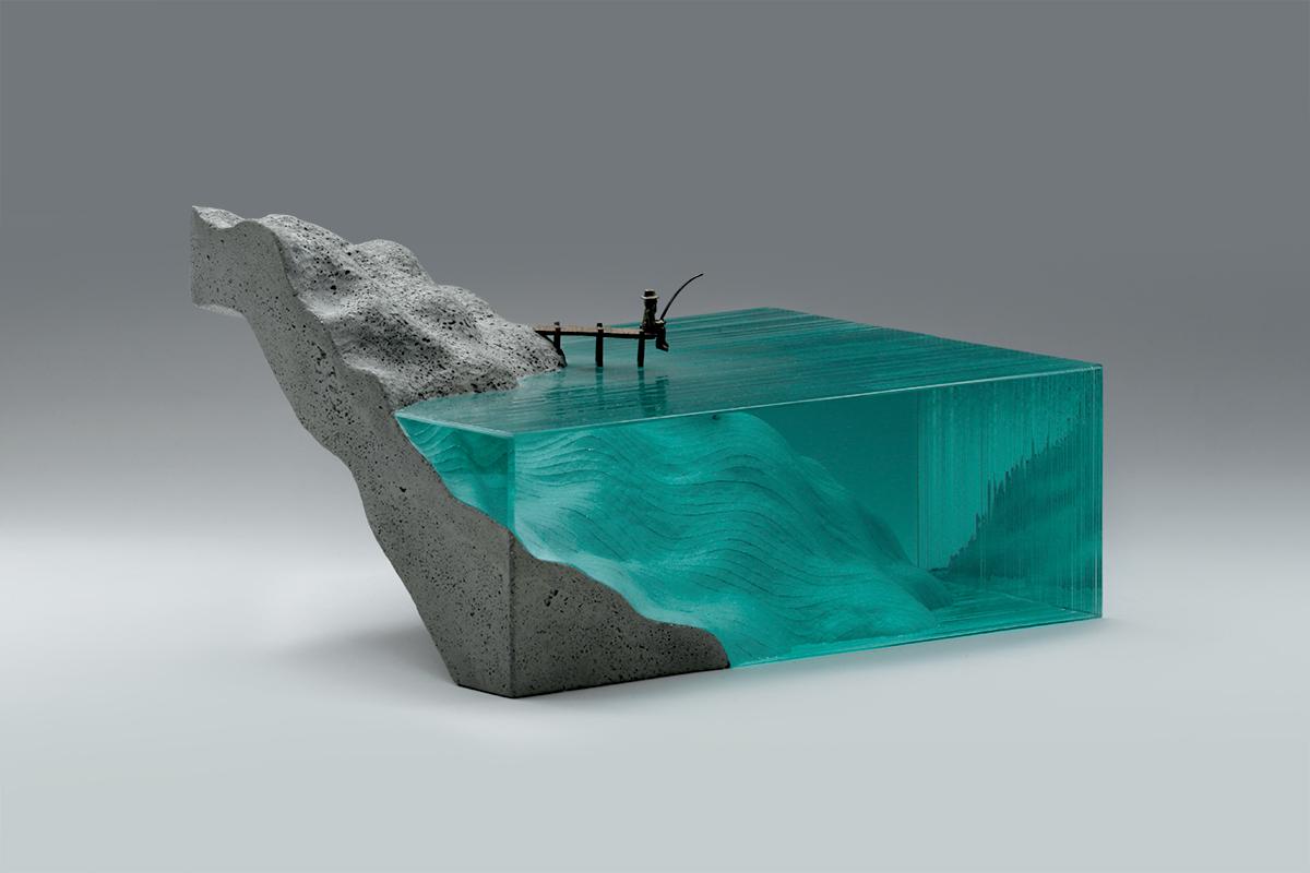laminated glass  glass concrete glass sculpture bronze Ocean jetty fishing