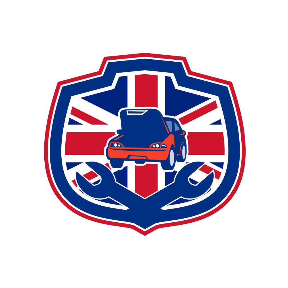 british auto repair shop union jack flag crest on behance rh behance net Auto Repair Logos Gallery Auto Repair Logos Gallery