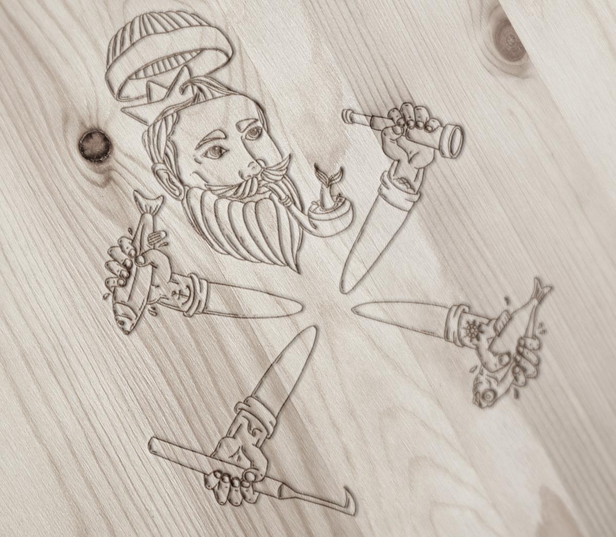 Sailor wood vintage impressed marinero madera