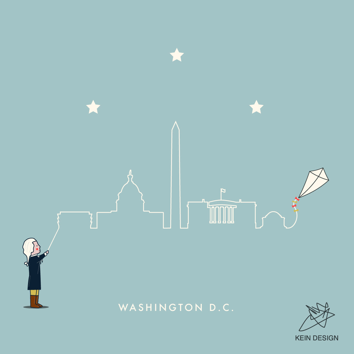 Georges Washington holding kite which rope is outlining the skyline of Washington D.C.