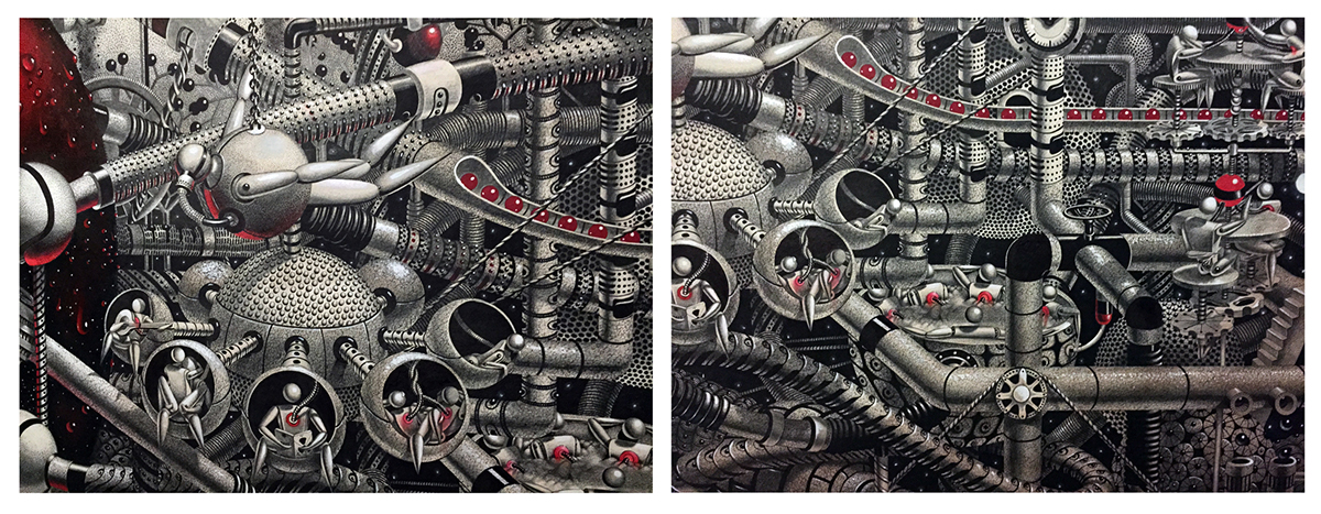 Samuel Gomez heart intricate STEAMPUNK mechanical surrealism fracking blindford red pipelines emotions The Turing test