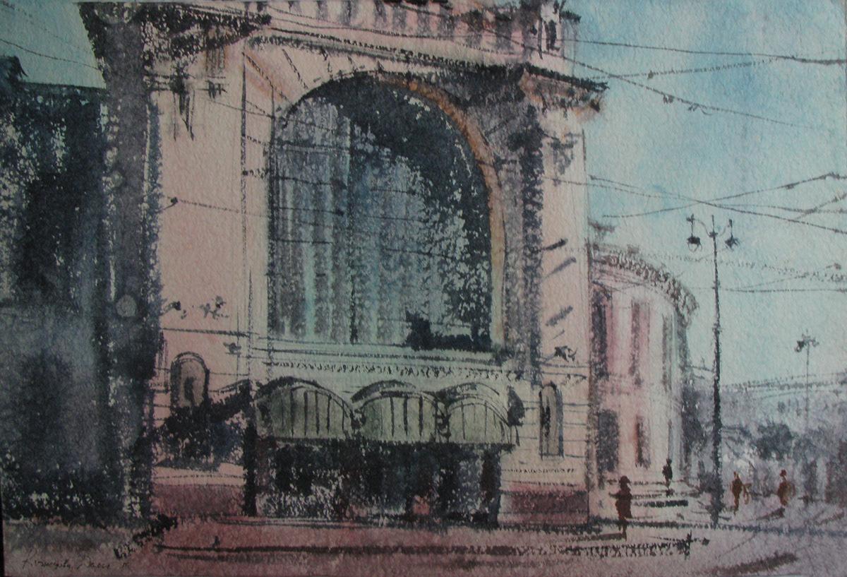 architecture art cool ILLUSTRATION  Vitebsky railway station watercolor акварель архитектура графика