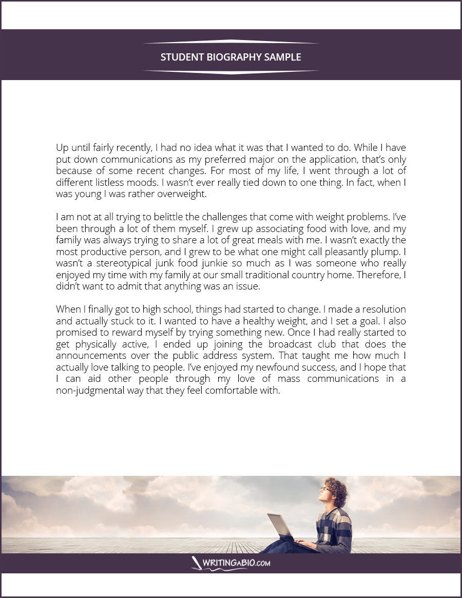 student biography sample on behance for more samples like this check this site writingabio com best bio writing tips student biography sample