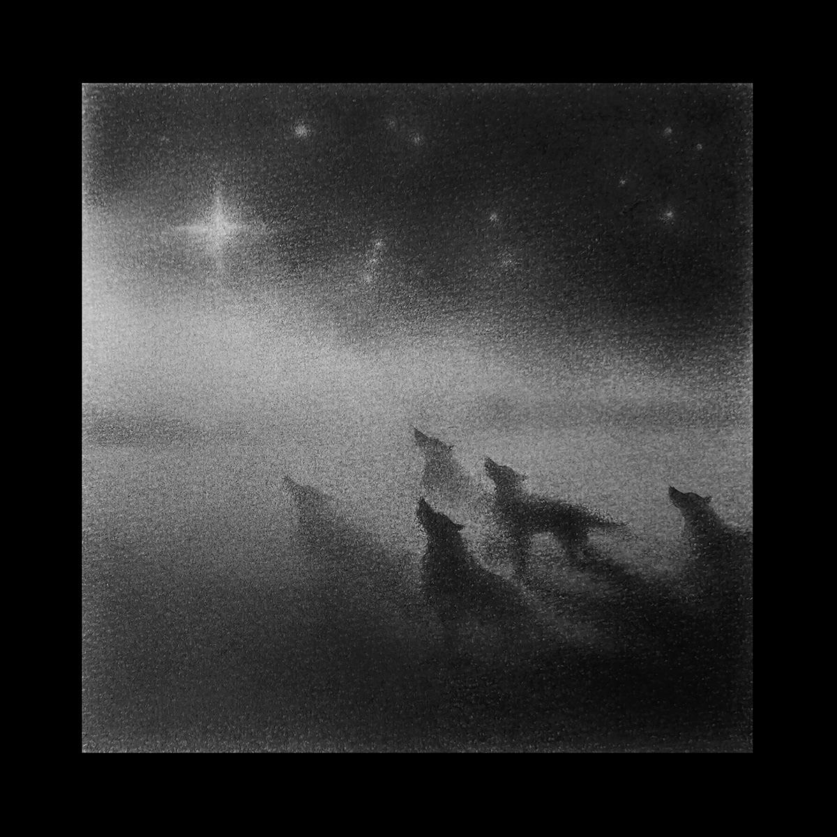 animal blackandwhite bw children Drawing  monochrome Nature painting   stars wolves