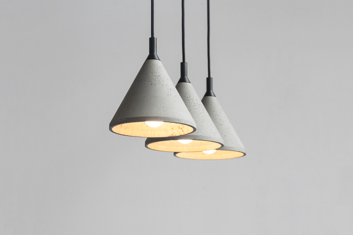 Zhong   The Concrete Pendant Lamp In Mass Production On Behance