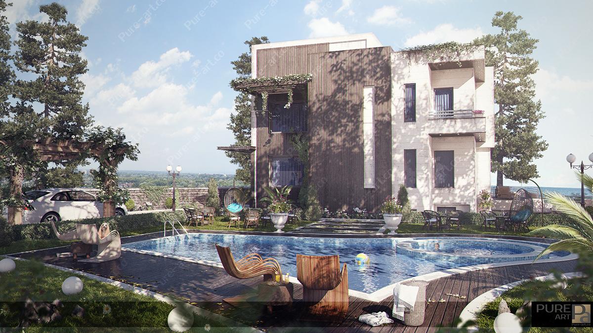 Villa 3D Rendering vray 3D Studio Max photoshop luxury Interior design pure_art royal Classic